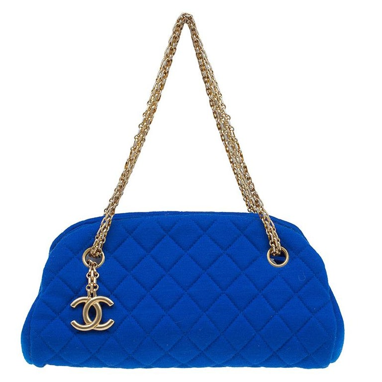 296e6ed4c30966 Chanel Blue Quilted Jersey Small Just Mademoiselle Bowler Bag at 1stdibs