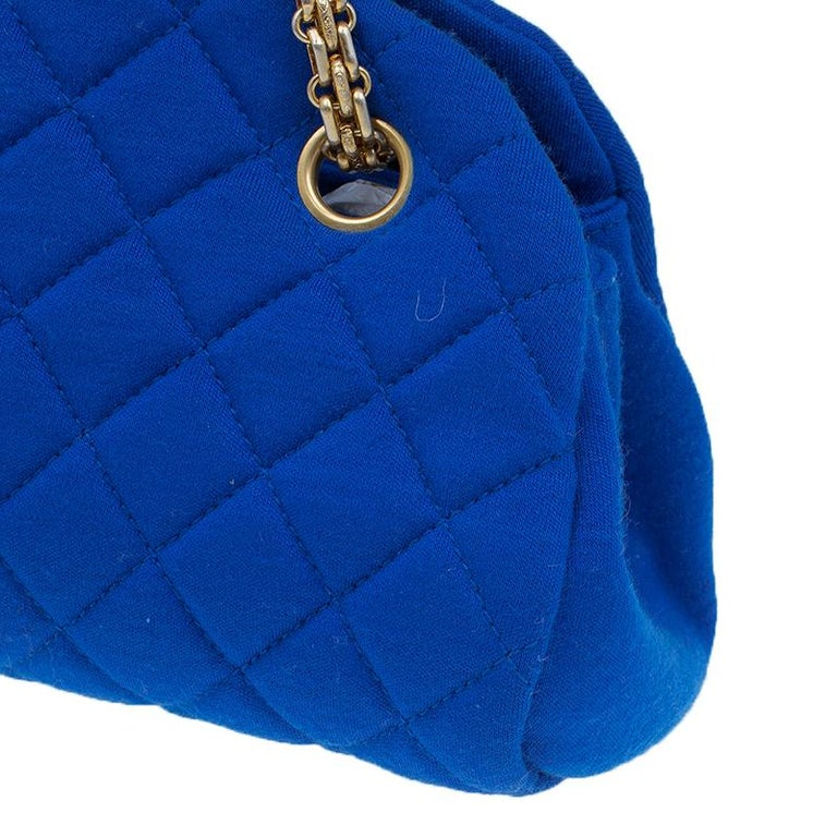 e72752c51ae737 Chanel Blue Quilted Jersey Small Just Mademoiselle Bowler Bag For Sale 14