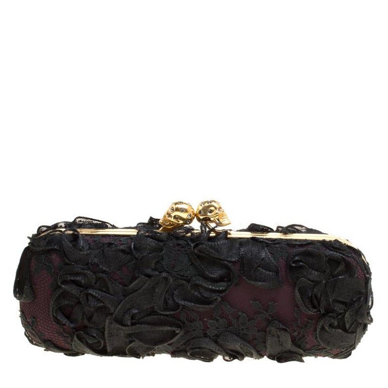 Alexander McQueen Black Lace Skull Crystal Clutch For Sale
