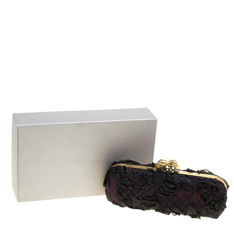 Alexander McQueen Black Lace Skull Crystal Clutch For Sale 2