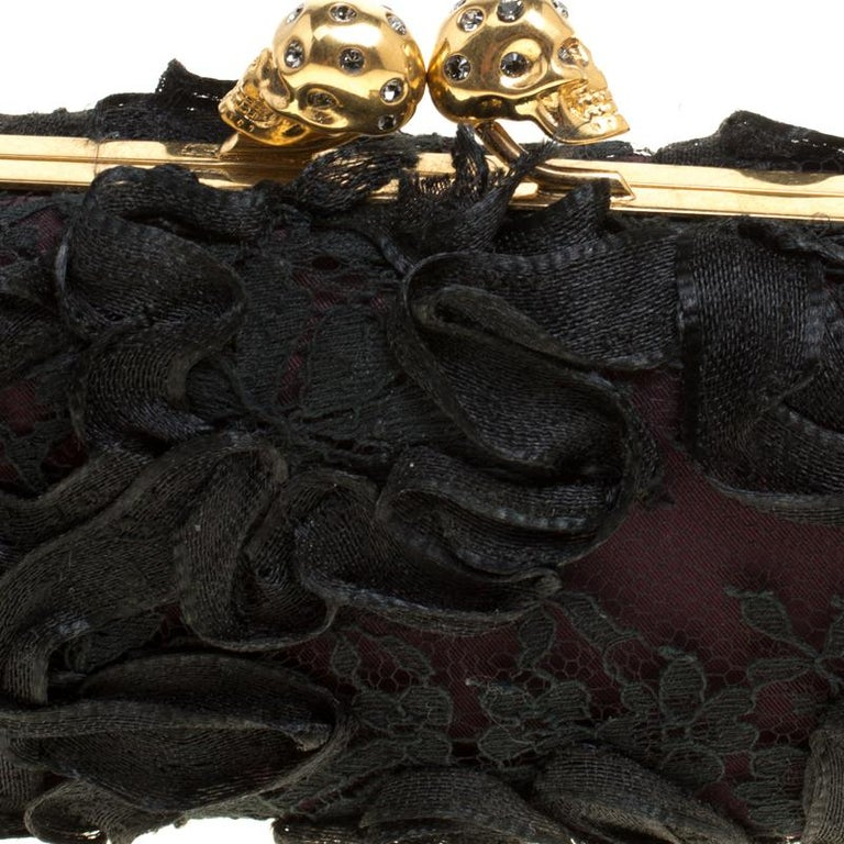 Alexander McQueen Black Lace Skull Crystal Clutch For Sale 3