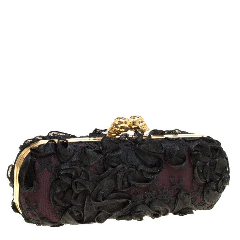 Alexander McQueen Black Lace Skull Crystal Clutch For Sale 4