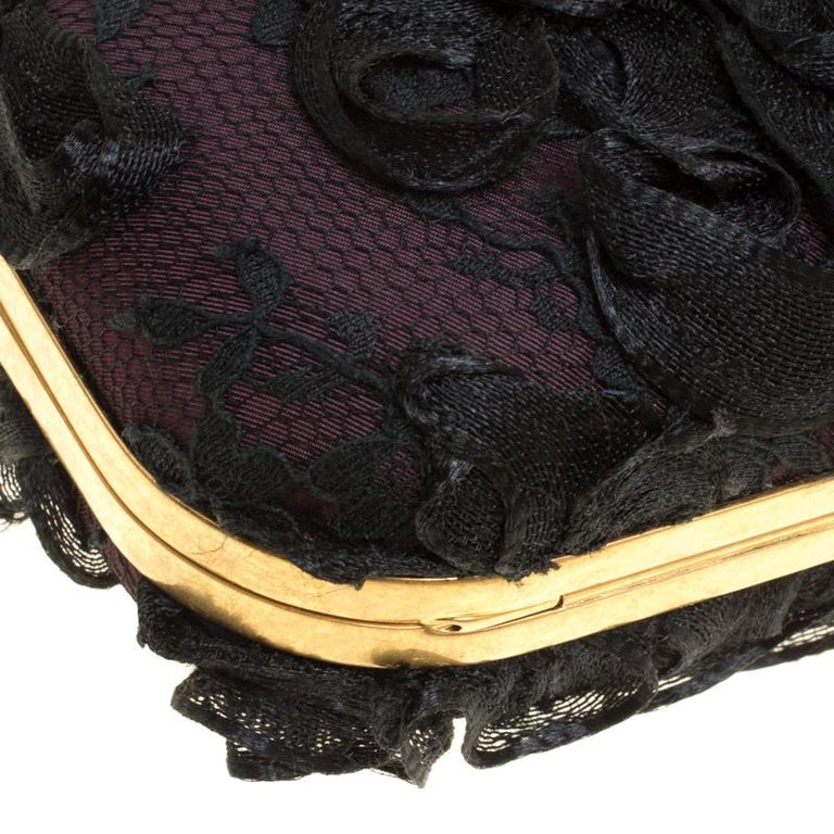Alexander McQueen Black Lace Skull Crystal Clutch For Sale 6