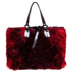 Valentino Burgundy/Red Nylon Petale Rose Tote