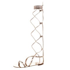 Valentino Metallic Bronze Leather Knee High Rockstud Gladiator Sandals Size 36