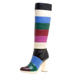 Valentino Multicolor Striped Leather Knee Boots Size 37