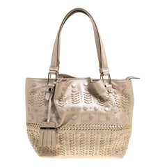 Tod's Metallic Beige Leather Small Studded Flower Tote