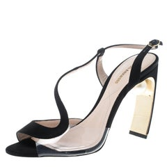 Nicholas Kirkwood Black Satin and PVC Maeva Faux Pearl Embellished Peep Toe Sand