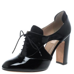 Valentino Black Patent Leather and Velvet Lace Up Spectator Oxford Pumps Size 39