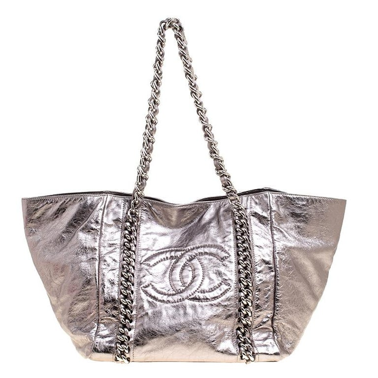 e538a3749bc4 Chanel Gun Metal Leather Modern Chain East West Tote at 1stdibs