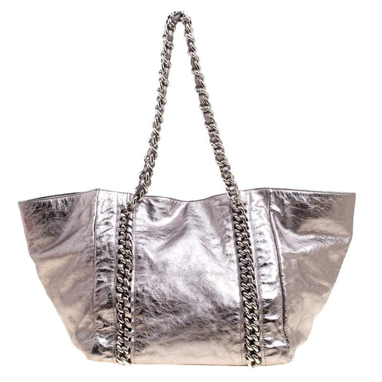 8a9d6f01c60b Gray Chanel Gun Metal Leather Modern Chain East West Tote For Sale