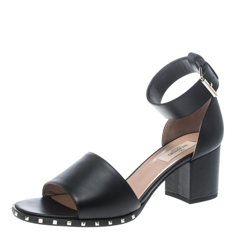 d510e3d9c84b Valentino Black Leather Soul Rockstud Ankle Strap Block Heel Sandals Size  39.5 For Sale