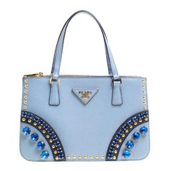 Prada Powder Blue Saffiano Leather Mini Crystal Studded Double Zip Tote