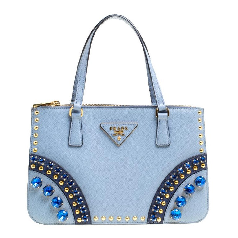 1ca36e6a0612 Prada Powder Blue Saffiano Leather Mini Crystal Studded Double Zip Tote For  Sale