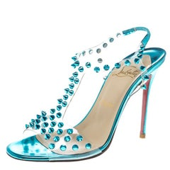 Christian Louboutin Turquoise Spiked PVC J-Lissimo T Strap Sandals Size 37