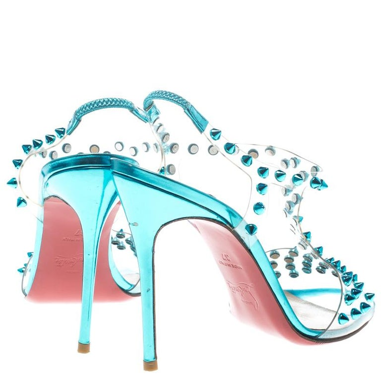 ff3c61308bcf Gray Christian Louboutin Turquoise Spiked PVC J-Lissimo T Strap Sandals  Size 37 For Sale