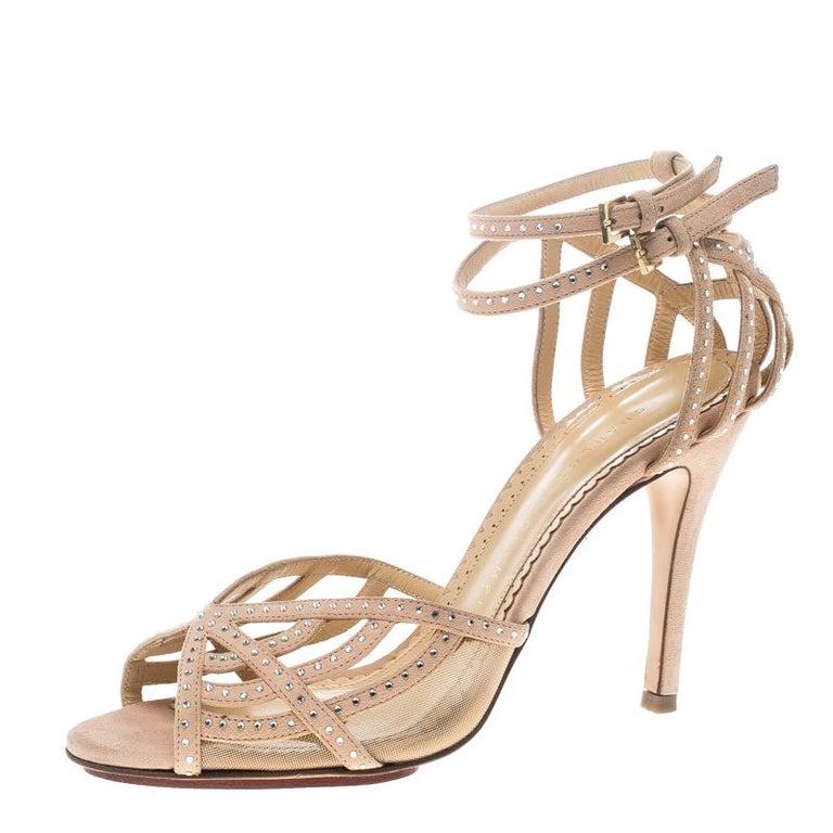 31a9cb079ec6 Charlotte Olympia Beige Crystal Embellished Suede Octavia Ankle Strap  Sandals Si For Sale