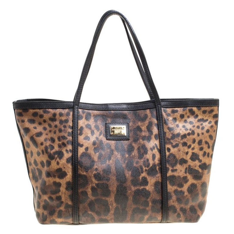 Dolce and Gabbana Brown Black Leopard Print Coated Canvas Tote For Sale 623853279d1e6