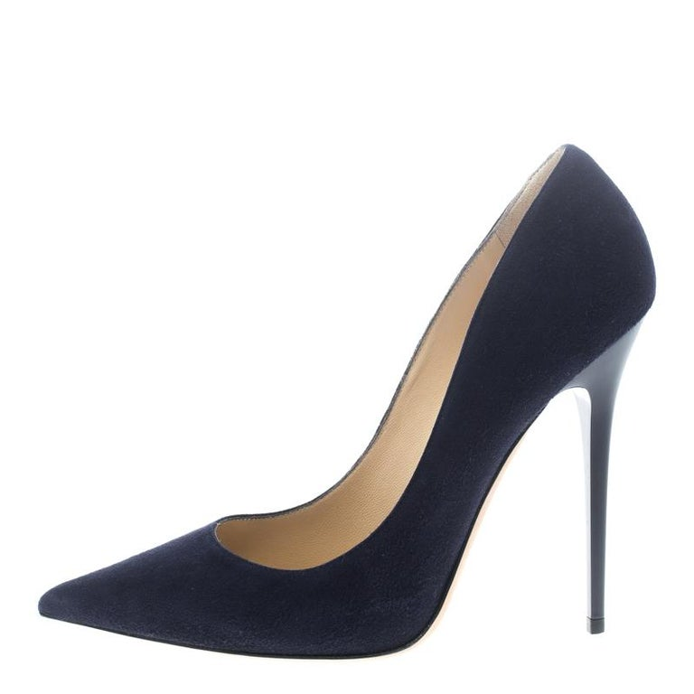 d9c9bb3817f Jimmy Choo Oxford Blue Suede Anouk Pointed Toe Pumps Size 40 at 1stdibs