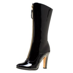 Valentino Black Patent Leather Zip Detail Mid Calf Boots Size 40