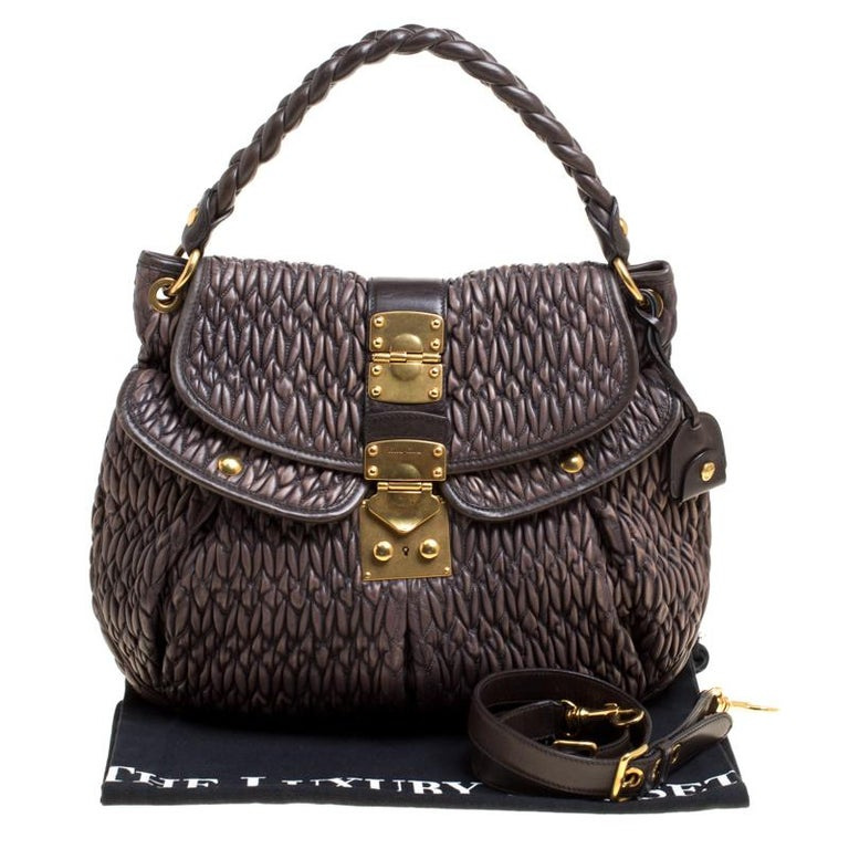 879b77aff759 Miu Miu Choco Brown Matelasse Leather Coffer Hobo For Sale at 1stdibs