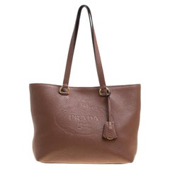 Prada Brown Vitello Daino Leather Shopper Tote