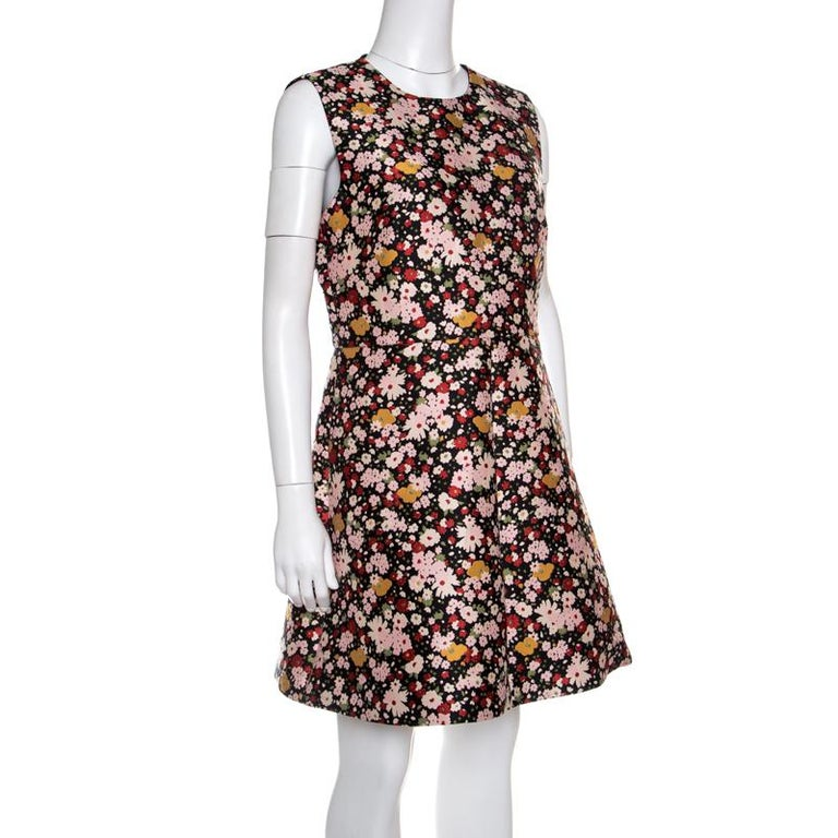 99159a46831 Black Red Valentino Chelsea Microflower Jacquard Sleeveless Dress L For Sale
