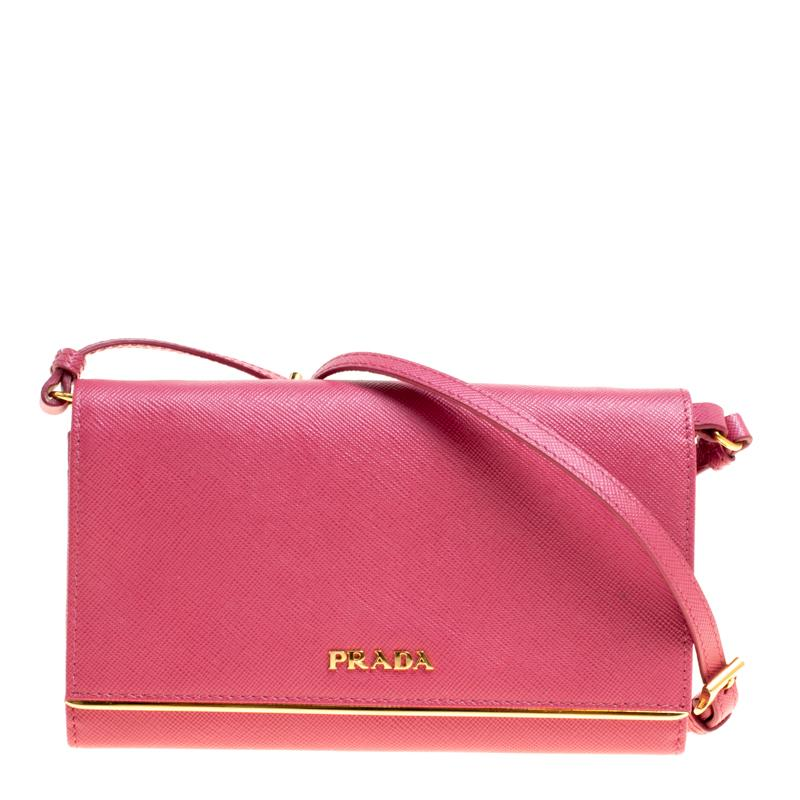 234c1e3af248 free shipping prada hot pink saffiano leather clutch shouder bag for sale  b04ed 4f80b