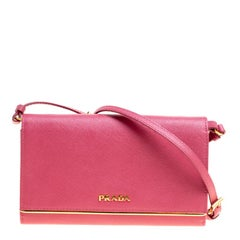 Prada Hot Pink Saffiano Leather Clutch Shouder Bag