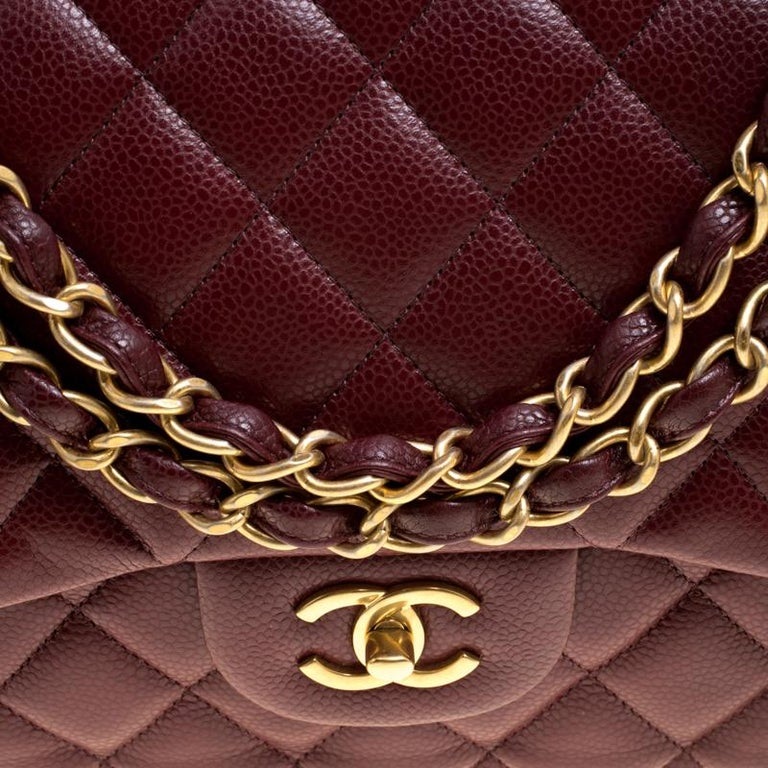 2958c7121265 Chanel Burgundy Quilted Caviar Leather Jumbo Classic Double Flap Bag For  Sale 2