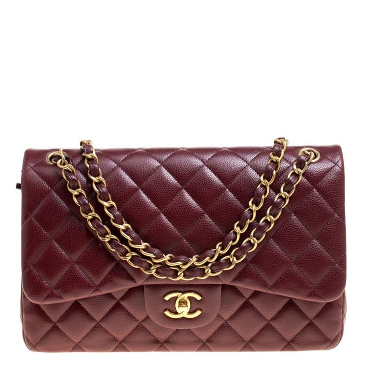 1ff73dfbe790 Chanel Burgundy Quilted Caviar Leather Jumbo Classic Double Flap Bag For  Sale