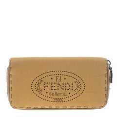 Fendi Tan Selleria Leather Zip Around Wallet