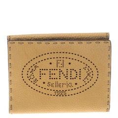 Fendi Tan Selleria Leather Compact Wallet