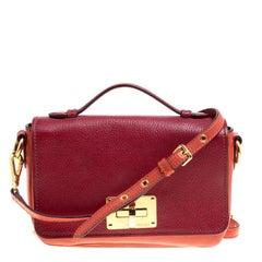 Miu Miu Red/Burgundy Leather Turnlock Crossbody Bag