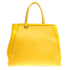 Fendi Yellow Saffiano Leather Large 2Jours Tote