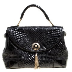 1924738f3525c Versace Black Patent Leather Altea Top Handle Bag