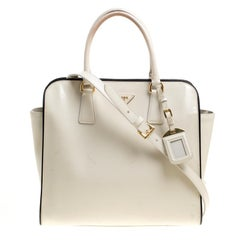 Prada Cream Patent Leather Tote