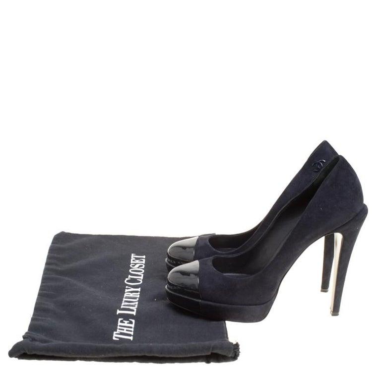 7cc2c9fdd6d06 Chanel Dark Blue Suede and Black Patent Leather Cap Toe Platform Pumps Size  38.5 For Sale