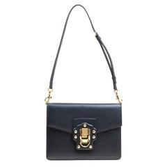 Dolce and Gabbana Navy Blue Leather Lucia Shoulder Bag