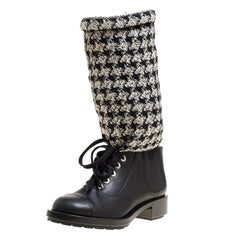 Chanel Black/Off White Leather and Tweed Lace Up Chain Detail Boots Size 36.5