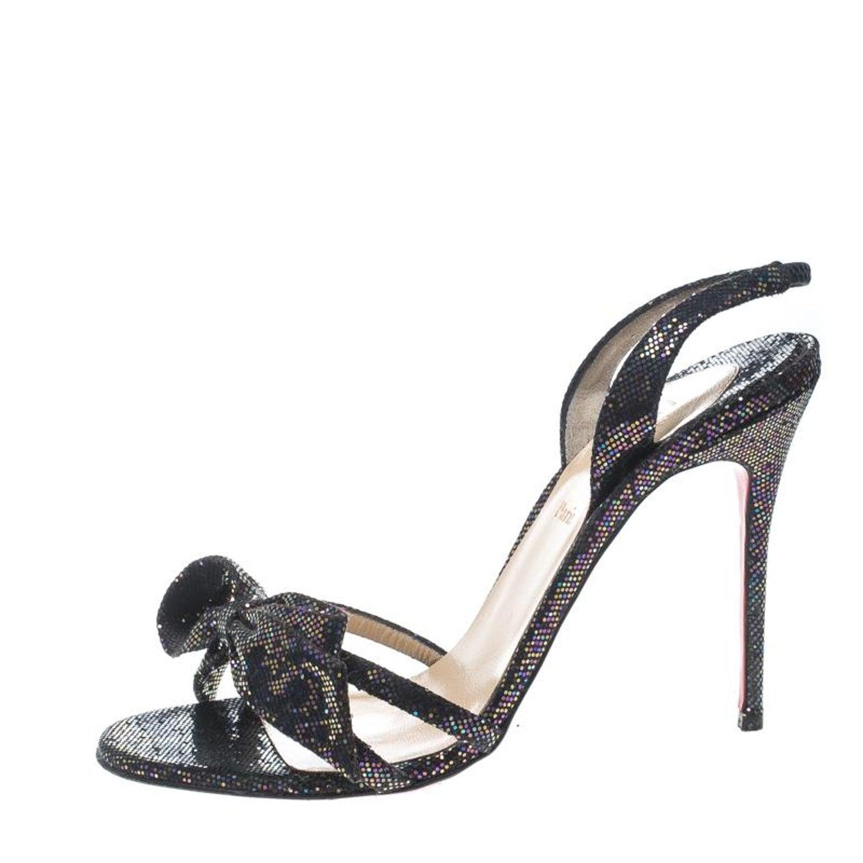 2b0ea67aa7b Christian Louboutin Black Glitter Grusanda Bow Sling Back Spotlight Sandals  Size at 1stdibs