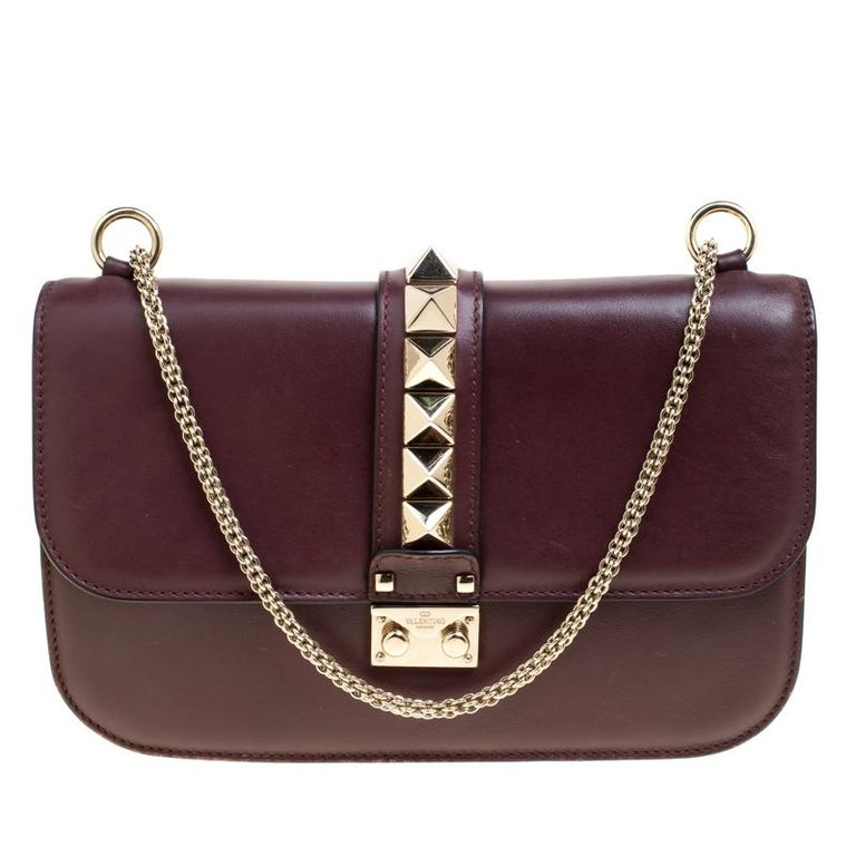e5a59fd4af24 Valentino Burgundy Leather Rockstud Medium Glam Lock Flap Bag at 1stdibs