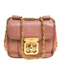 Chloe Two Tone Peach Leather Mini Elsie Crossbody Bag