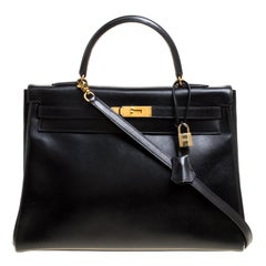 Hermes Black Box Calf Leather Gold Hardware Kelly Retourne 35 Bag