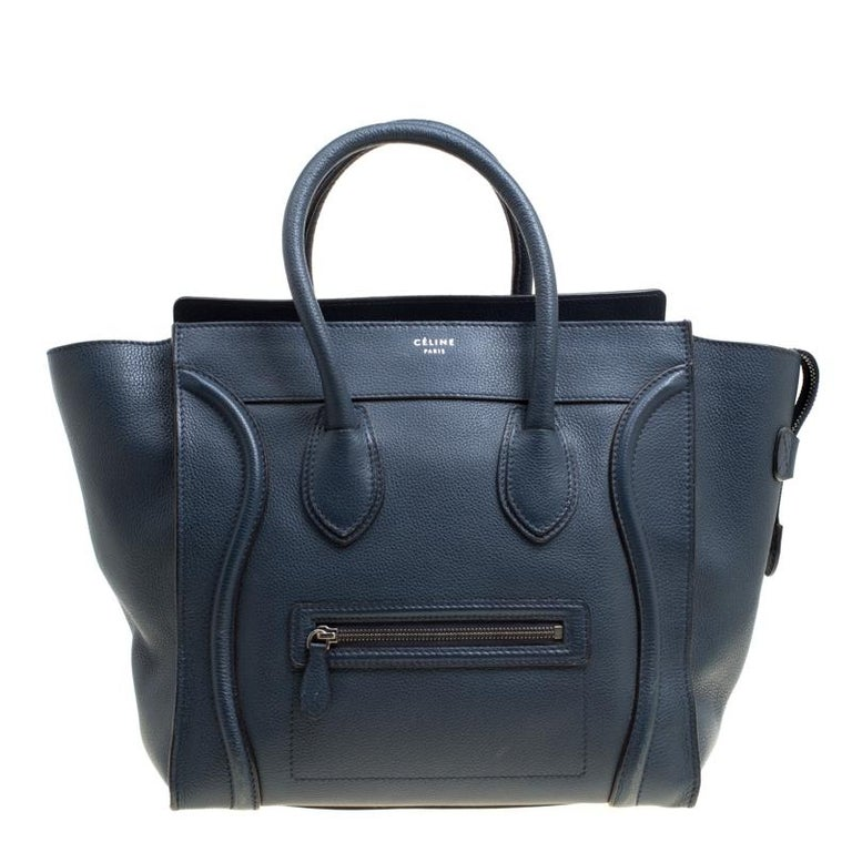Celine Navy Blue Leather Mini Luggage Tote For Sale at 1stdibs 8294d0ce3eda5