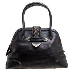 Dior Black Crackled Effect Leather Dome Satchel