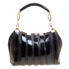 Versace Black Leather and Patent Stripe Logo Shoulder Bag