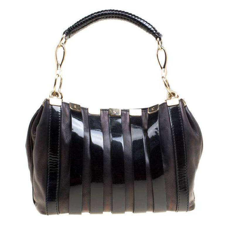 fbf591cddd8a Versace Black Leather and Patent Stripe Logo Shoulder Bag at 1stdibs