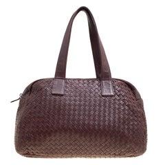 Bottega Veneta Ebano Intrecciato Leather Satchel