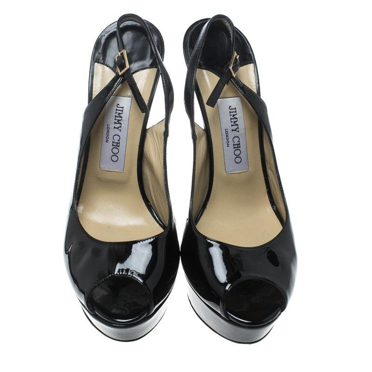d82a2df4b4b Jimmy Choo Black Patent Leather Vita Platform Slingback Sandals Size 40 In  Good Condition For Sale